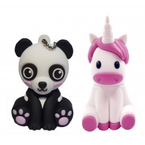 Cuteness pack - set van 2 USB sticks Panda 8 GB  + Eenhoorn 8 GB